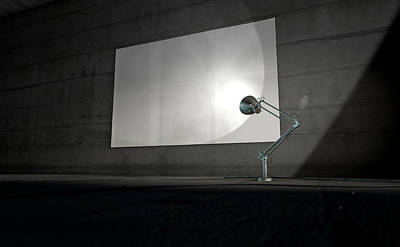 Steel Digital Art - Vintage Lamp Illuminating Wall by Allan Swart
