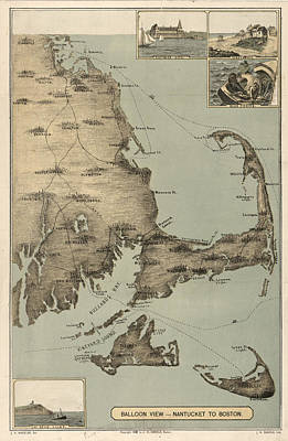 Cape Cod Drawing - Vintage Map Of Cape Cod  by CartographyAssociates