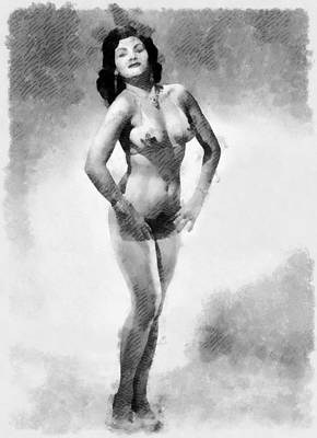 Burlesque Painting - Vintage Pinup by Esoterica Art Agency