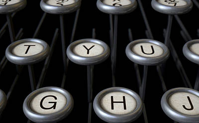 Vintage Typewriter Keys Close Up Art Print