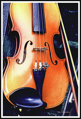 Digital Art - Violin And Bow, Digital Painting by A Gurmankin