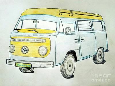 Surfing Art Drawing - Volkswagon Camper Van by Scott D Van Osdol