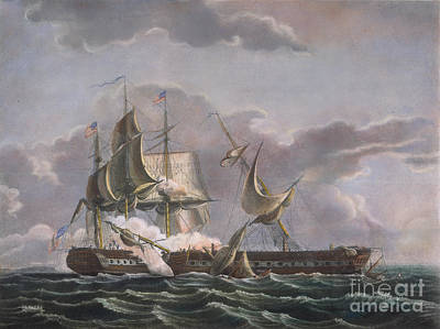 Uss Constitution Photograph - War Of 1812: Naval Battle by Granger