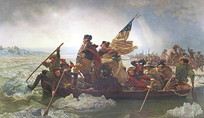 Military Uniform Painting - Washington Crossing The Delaware by Emanuel Gottlieb Leutze