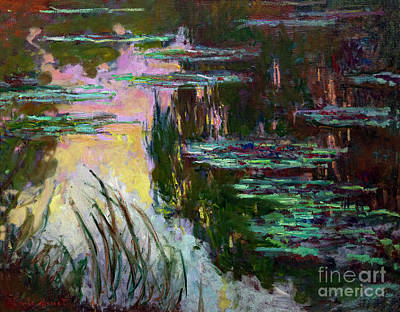 Painting - Water Lilies Setting Sun by Claude Monet