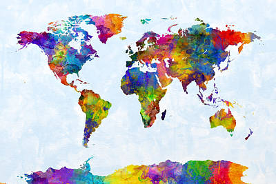 World Digital Art - Watercolor Map Of The World Map by Michael Tompsett