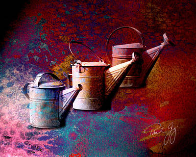 Watering Can Mixed Media - 3 Watering Cans No.1 by Paul Gaj