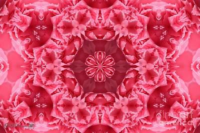 Digital Art - Watermelon Carnation Ruffles Mandala by J McCombie