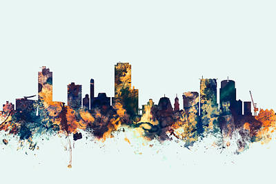 Wellington Digital Art - Wellington New Zealand Skyline by Michael Tompsett
