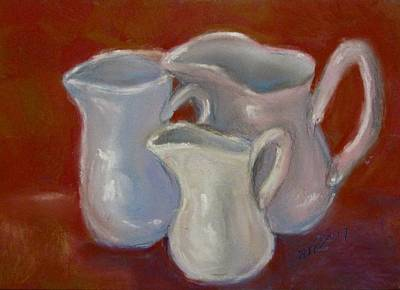 Pastel - 3 White Cream Pitchers by Barbara O'Toole