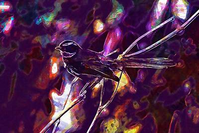 Flycatcher Digital Art - White Throated Fantail Flycatcher  by PixBreak Art