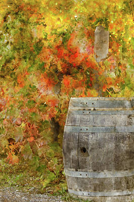 Wine Barrel In Autumn Art Print by Brandon Bourdages