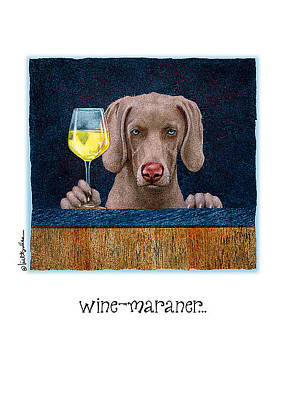 Weimaraner Painting - Wine-maraner... by Will Bullas