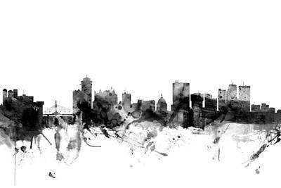 Winnipeg Canada Skyline Art Print by Michael Tompsett