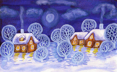 Painting - Winter Landscape In Violet Colours, Painting by Irina Afonskaya