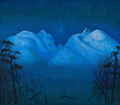 Mountain Royalty-Free and Rights-Managed Images - Winter Night In The Mountains by Harald Sohlberg