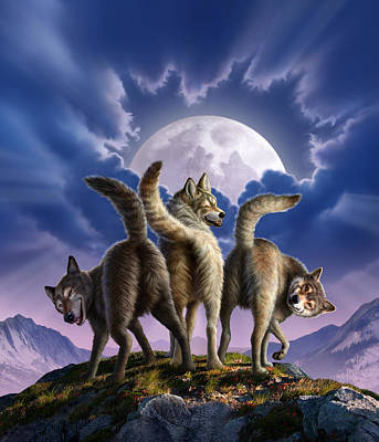 3 Wolves Mooning Art Print by Jerry LoFaro