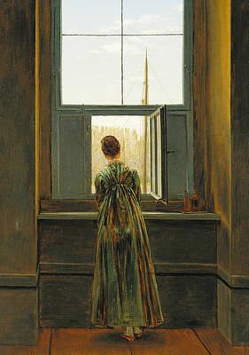 Caspar David Friedrich Painting - Woman At A Window by Caspar David Friedrich