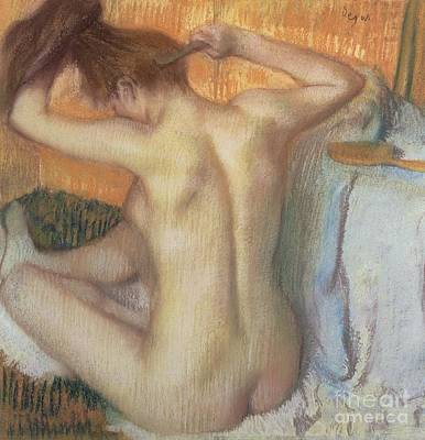 Figures Pastel - Woman Combing Her Hair by Edgar Degas