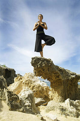 Mahaulepu Beach Photograph - Woman Doing Yoga by Kicka Witte - Printscapes