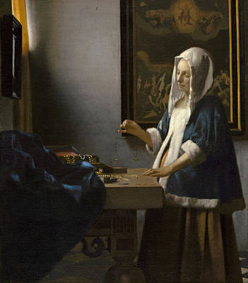 Working Painting - Woman Holding A Balance by Johannes Vermeer