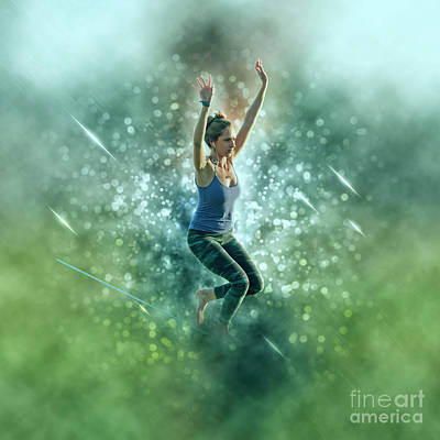 Tightrope Walking Photograph - Woman On A Slack Line  by Humourous Quotes
