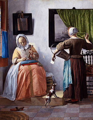 Window Painting - Woman Reading A Letter by Gabriel Metsu