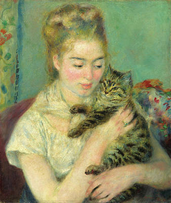 Pierre-auguste Renoir Painting - Woman With A Cat by Pierre-Auguste Renoir