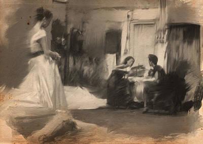 Studio Drawing - 3 Women by H James Hoff
