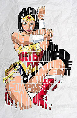 Inspirational Mixed Media - Wonder Woman Inspirational Power And Strength Through Words by Marvin Blaine