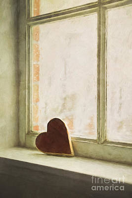 Photograph - Wooden Heart On A Window Sill by Sandra Cunningham
