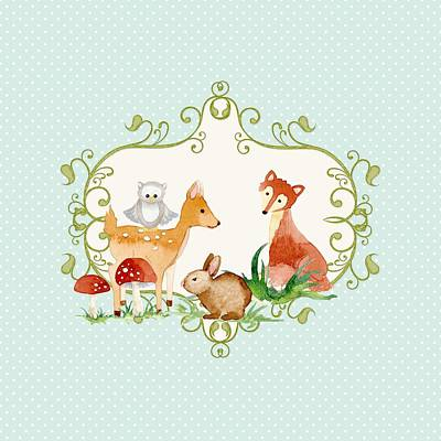 Cute Fawn Painting - Woodland Fairytale - Animals Deer Owl Fox Bunny N Mushrooms by Audrey Jeanne Roberts
