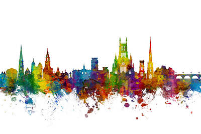 Digital Art - Worcester England Skyline by Michael Tompsett