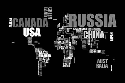 World Text Map Digital Art - World Map In Words by Michael Tompsett