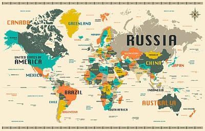 Size Digital Art - World Map by Jazzberry Blue