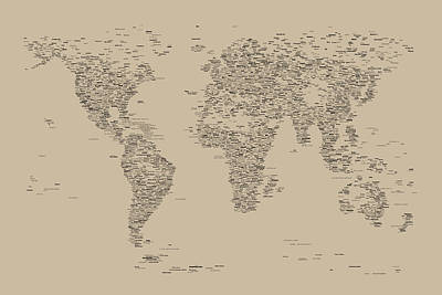 World Map Of Cities Art Print
