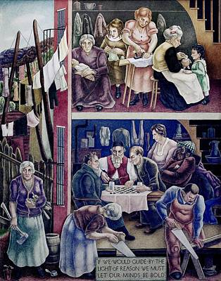 Wpa Mural. Society Freed Through Art Print by Everett