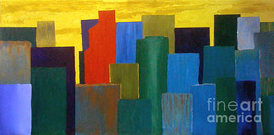 Abstract Skyline Paintings - 3 X Over - SOLD by Paul Anderson