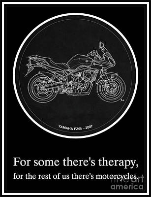 Bike Drawing - Yamaha Fz6b 2007 Art Print And Motorcycle Quote, Gift For Men by Pablo Franchi