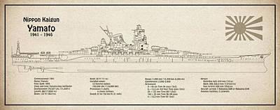Digital Art - Yamato Ship Plans by Jose Elias - Sofia Pereira