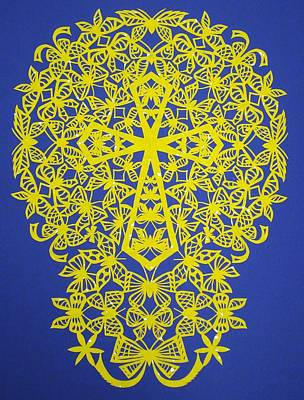 Yellow Butterfly-cross Art Print by Tong Steinle