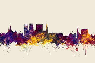 Great Britain Digital Art - York England Skyline by Michael Tompsett