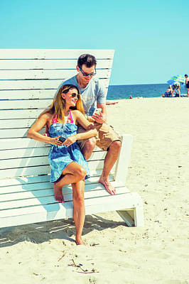 Photograph - Young American Couple Traveling, Relaxing On The Beach In New Je by Alexander Image