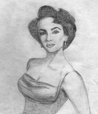 Elizabeth Taylor Drawing - Young Elizabeth Taylor by Julie  Joseph