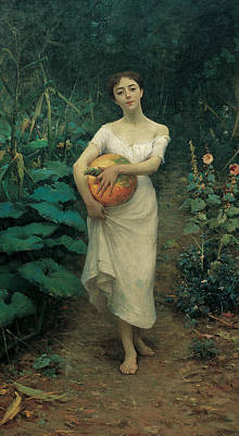 Painting - Young Girl Carrying A Pumpkin by Fausto Zonaro