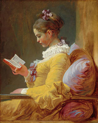 Genre Painting - Young Girl Reading by Jean-Honore Fragonard