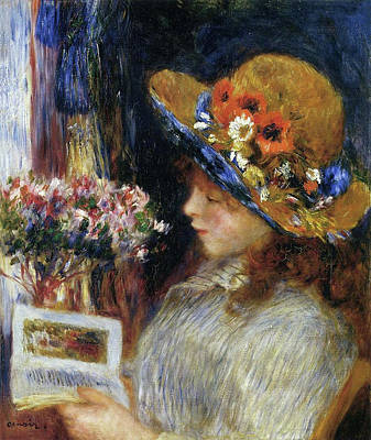 Reading Painting - Young Girl Reading by Pierre-Auguste Renoir