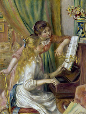 Indoor Still Life Painting - Young Girls At The Piano by Pierre-Auguste Renoir
