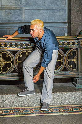Photograph - Young Hispanic American Man Waiting For You By Railing by Alexander Image