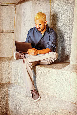 Photograph - Young Hispanic American Man Working On Small Computer Outside by Alexander Image